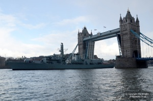 HMS Westminster under Tower Bridge