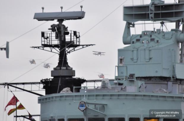 Navy flypast approaching HMS Belfast