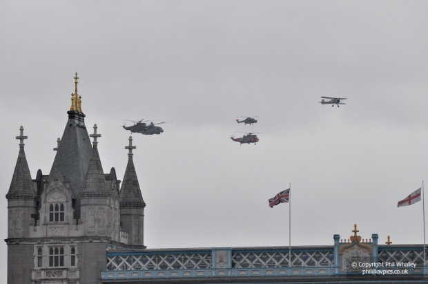 Navy flypast approaching Tower Bridge