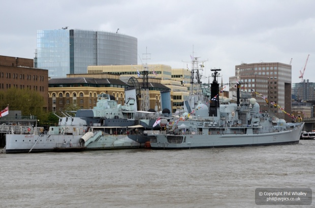 HMS Edinburgh alongside  HMS Belfast