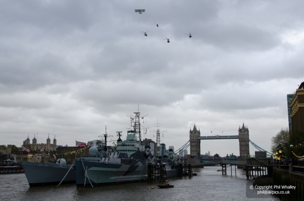 Navy flypast over London