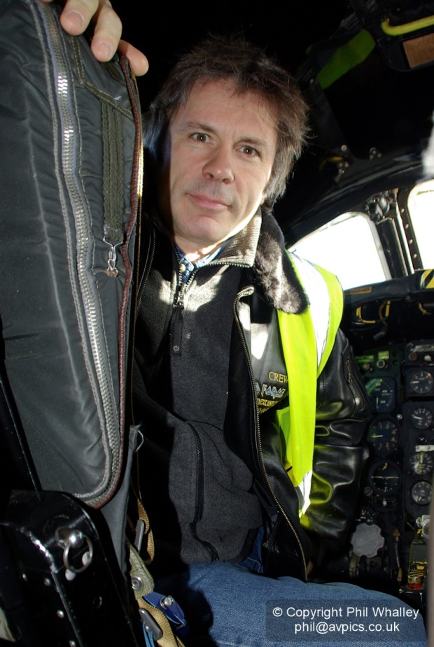 Bruce Dickinson in the cockpit of Avro Vulcan XL426 at Southend Airport