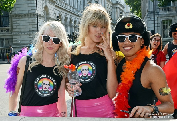 Whitehall, London, UK - 27 June 2015. The Parade is a procession of walking groups and floats which together march through streets in the heart of London to celebrate the LGBT+ (lesbian, gay, bisexual and transgender) community. It is one of the largest LGBT+ Parades in the UK. The aim of the Parade is to have fun, campaign and ultimately showcase the LGBT+ community in London, the UK and overseas.